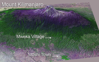 Southern View of Mount Kilimanjaro rendered in 3D with Landsat and SRTM data